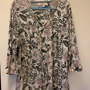 Floral 3/4 Sleeve Blouse-light pink/gray -loft-Xl